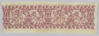 Band fragment showing Cupid and griffon in red silk on linen.