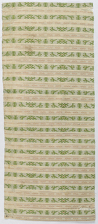 Bands of pattern featuring small birds in green, purle and coral on white.
