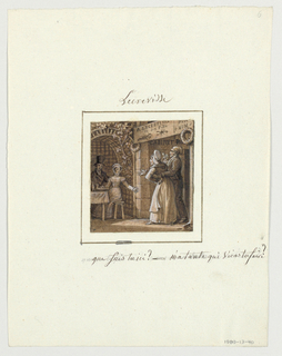 "Design for a painted porcelain plate, square format. Scene at a seafood restaurant whose sign is posted in the doorway: "" à l'ecrevisse / et sa fille."" A couple, right foreground, stand at the restaurant entrance.  The figure of a man smokes a pipe, the woman stands with her left hand on her hip and gestures to a  young, well-dressed couple seated outside the restaurant at a table beneath an arbor.  The young woman is taken by surprise when she sees her aunt and exclaims, ""What are you doing here auntie--what are you coming to do?"""