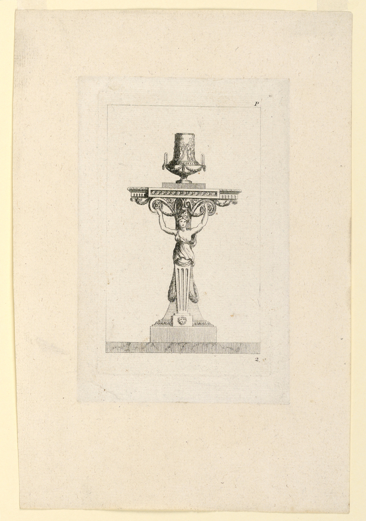 A female gaine and a pillar form the support. A vase with two handles on top. Framing lines.