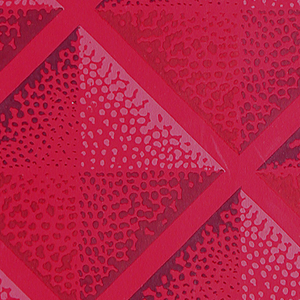 Diamond grid design formed by pyramid-like shading. Printed in shades of red on deep red ground.