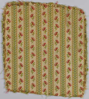 Fragment of upholstery fabric with two alternating stripes. One has red blossoms and green stems on an ivory ground; the other is a geometric vine in three shades of green.