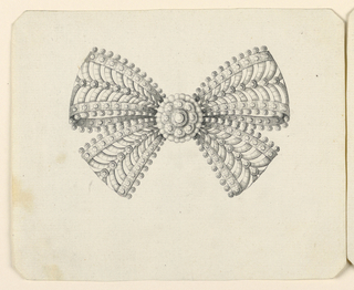 Jewelry design for a brooch. A knot of laced ribbon, à jour. In the center, a rosette. The inside of the ribon with an arcade motif. Outside, rows of round beads. Beveled corners.