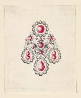 Jewelry design for an earring. The scheme and the central part is similar to 1938-88-847, the disk and the drops having a different design, the diamonds inside and the frames seemingly being not connected with each other.
