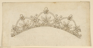 Design for a hair crown. Scrolls from three compartments with five leaves at the bottom of each, disposed as a palmette, springing from a blossom. Upon the cusps, standing pear-like diamonds with a calyx. Upon the crossing points of the scrolls are rosettes.