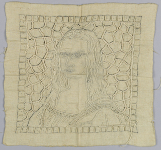 """Partly worked Mona Lisa (La Gioconda) in white threads. Background would have been openwork. """"La Joconde'  is embroidered on the woman's bodice."""