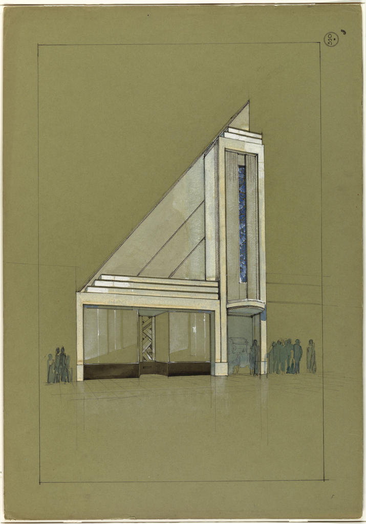 "At right, narrow doorway entrance beneath monumental, vertical architectural element (with long, central ""stripe"" of blue tile/glass/marble (?)  embellishment) and semi-circular marquee.  To left of door are empty  windowed storefront vitrines, surmounted by stepped entablature.  Within this vitrine area is a decorated central panel or door.  Above the vitrine section and to the left of overdoor architectural element, are diagonal panels forming a trianglular-shaped cladding for the building.  Pedestrians, rendered in blue watercolor, are at left of store window and  to right of doorway.  Image bordered by graphite framing lines."