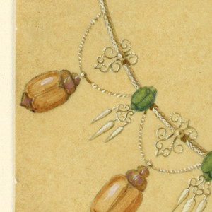 Six small green beetles are fastened to a chain. One large and six medium hang from slopes. Drops hang from the green beetles.