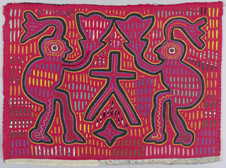 Panel with applique in reverse. Face, bright red, cut to show colors appearing from below, forming design. Two figures of men in profile with plumed headdresses, holding toward each other large fan-shaped objects. Figures outlined in yellow, black and purple. Through regularly spaced slits show yellow, green, blue, violet - simple embroidery defines figures.