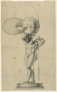 A circular base with fluting. Atlas, a bearded nude male, carries the globe, the equator of which is surrounded by a band. To this band are fastened two bowls with flames. Suspended are chains from which hand screwdrivers.
