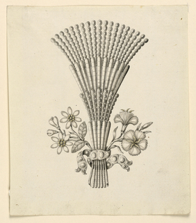 Jewelry design for a hairdress. A bunch of seven branches, fastened by a ribbon. The central ones are fan-like with alternating parts of bars and rows of disks. Outside, two branches with blooming flowers (carnations).