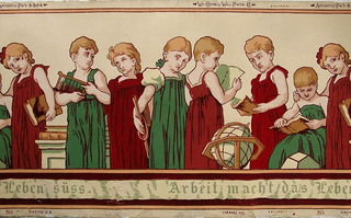 """Children's frieze with repeating group of seven school girls in green and red dresses, holding books, abaci and hoops, with a terrestrial globe. Across bottom a banderole with the Gothic-letter inscription in German: Arbeit macht das Leben Süss [Work Makes Life Sweet]. Printed in top selvedge: Wm. Campbell-Wall-Paper-Co., Antiseptic Pat'd 8-9-04"""". Printed in bottom selvedge:  """"The Froebel, E.J. Walenta, 496""""."""