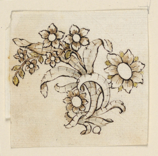 Jewelry design for a brooch. A flower branch with an interlaced ribbon. A big blossom is at right, smaller blossoms on vine at upper and lower left.