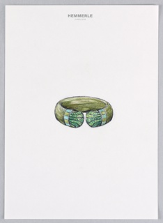 Drawing of a pockwood, oxodized silver, white gold, turquoise, and tsavorites bangle bracelet.  Part of Egyptian revival collection.