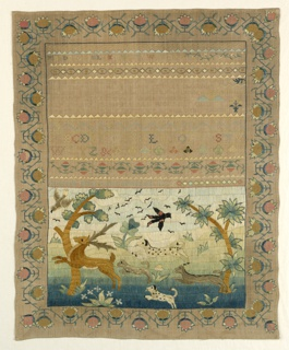 In the upper  half, bands of alphabets separated by narrow floral cross borders, a verse and inscription: