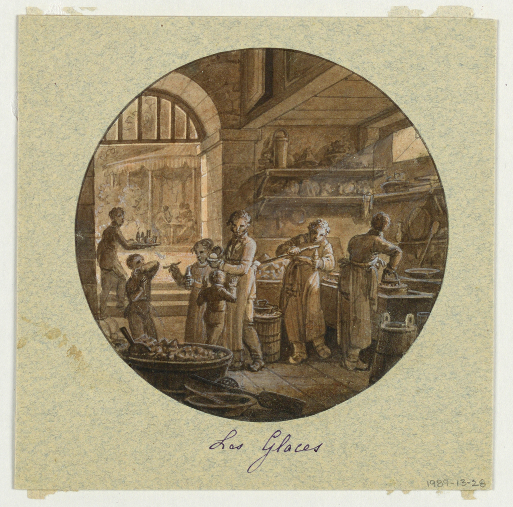 Design for a painted porcelain serving vessel, rondel. Scene in kitchen of an ice cream restaurant.  Several shelves of molds and implements for making ice cream, upper right.  A figure of a woman, center middleground, holds a cup of ice cream.  A young girl, to her right, offers a spoon of ice cream to a boy; another boy raises his hands with obvious delight.  A woman [?],right middleground, fills an ice cream cone while another woman, behind her, works with a mold.  A waiter, left middleground, carries a tray of ice cream through an archway towards a table of customers, left background, seated under a structure covered with a striped awning.