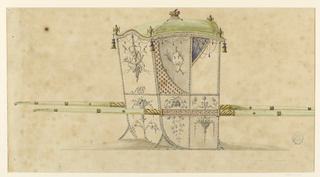 Shown from the rear right corner with two bars. On top of the roof is a ducal crown. At the corners stand crowns and hang tassels. Fringes and ropes with tassels and framing festoons hang from the upper rim. The panel beside the window is divided into two parts by a scroll rising from the lower right corner and extending to the upper left corner. In the right part is an escutcheon with two swearing hands (?) and a swag crossed with a palm branch. In the left parts ornamentation with lozenges hanging blossoms at the angles. In the upper panel at the back are, above, a trophy of objects referring to the hung, below, a monogram MP. The bottom panels are decorated with, respectively, a hanging basket below the subdivided panel, a plant palmette at the back. The bars are decorated in the width of the chair. The metal mountings are shown.