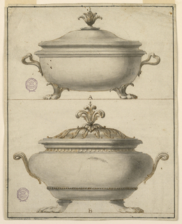 Page divided horizontally with two tureens, labeled A and B. Both tureens have claw feet, scrolling handles and acanthus finial. Lower example has two decorative bands on body.