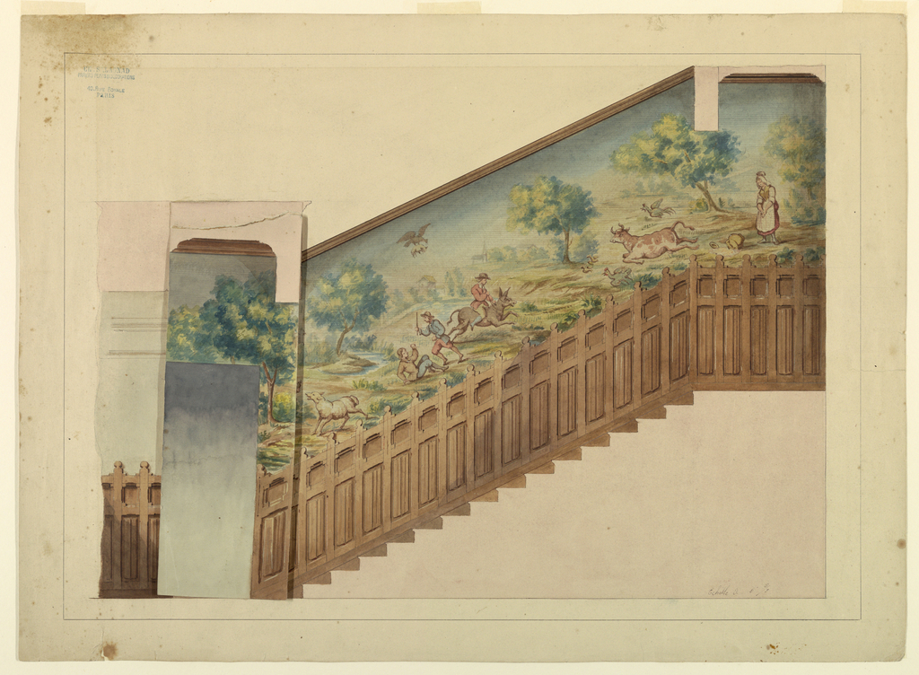 Drawing, Design with Overlay for Portion of Stairway in Château-sur-Mer, Newport, Rhode Island