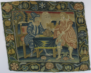 Solidly worked multicolored pillow cover with a conventionalized fruit and flower border that encloses a scene from the Parable of the Prodigal Son; scene depicted is the time of his departure from his family with a bag containing his inheritance money.