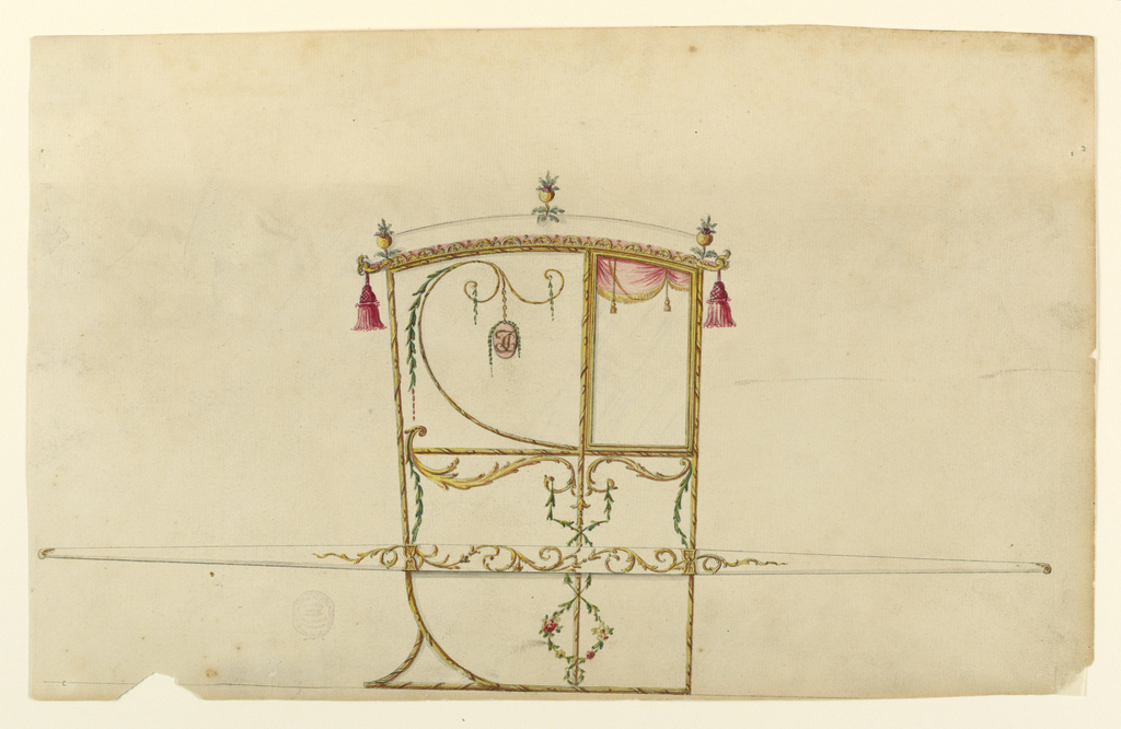 Shown in profile, turned toward right, with one bar. Pomegranates stand in the center and at the corners of the roof. Tassels hang at the upper corners. The panel beside the window shows a scroll rising from the lower right corner from which garlands hang and a medallion with the monogram, CF. The lower panels have above leaf scrolls; a spiral of the left one is in the lower left corner of the upper panel. From the ends of the scrolls garlands hang down, those from the inside ones are intertwined around the vertical molding framing the panels. The bar is decorated with rinceaux. The mountings are shown.