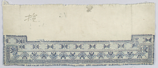 """Sleeve band of grey cotton, embroidered in wool at one side in small sclaed geometric pattern, outlined by a repeated """"T"""" pattern."""