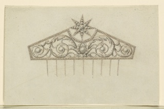 Jewelry design for a hair comb. The cresting has the form of a pentagon with a long triangular shape. On top is a star. In the panel are rinceaux springing from a chalice contianing five round diamonds. Nine tines, as in 1938-88-772.