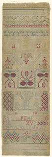 "Vertical rectangle with bands of pattern, alphabet, numeral and singnature ""Elizabeth Silk her work ended in the thirteenth year of her age October the 25 1741."""