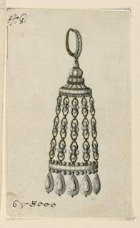 Jewelry design for an earring. The ring with diamonds on its front. The pendant in pavilion shape, with on top a roof and five chains with blossoms, serving as columns. Hanging from the base are five drops. Left corner below bevelled.