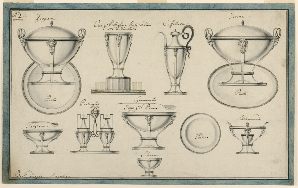 "Horizontal rectangle. Designs for silver serving pieces decorated with female masks from which a bunch of grapes and leaves are suspended. Medusa masks, serpents, and mouldings form the primary decorative motifs. Identifying captions accompany each illustration. In the top row, from left to right: a soup bowl and its plate, the inscription ""Zappiera"" above and ""Piatto"" below; a tray with a bottle cooler and four glasses, the inscription ""Vaso p[er] Bottigha e Porta bichiere / sotto da Dismetere"" above; a coffee pot shown in profile, the handle formed by a snake, the inscription ""Caffeteria"" above; an ovoidal soup bowl with ovoidal plate, the inscription ""Terina"" above and ""Piatto"" below. Center row, from left to right: a salt bowl with the spoon shown over it, the inscription ""Salziera"" above; an oil cruet with two bottles, the inscription ""Portaglio"" above; a round tureen with spoon above, the inscription ""Sgommvaello [?] / Tazza zil Poncio"" surrounding the spoon; a plate, the inscription ""Tondino"" at center; a plate warmer, the inscription ""Scaldavivande"" above. At bottom center, a salt bowl, the inscription ""Salziera"" above."