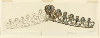 Drawing, Design for diadem, ca. 1850