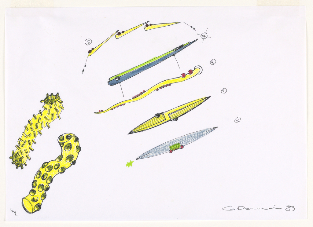 Abstract designs in yellow, blue and green. On left, two wavy tube-like objects, both yellow; one with stick projections and the other with spherical ones. At center, a row of long designs numbered upside-down 1 through 5, with 4 crossed out. From the bottom, 1: a pointed oval in blue with green rectangle and two red beads, green asterisk at left; 2: pointed oval in yellow with two flush covers and large beads; 3: tapered and snake-like in yellow with red beading; 4: elongated teardrop, half blue, half green, some beading; 5: three tapered teardrops with two red beads each, all connected.