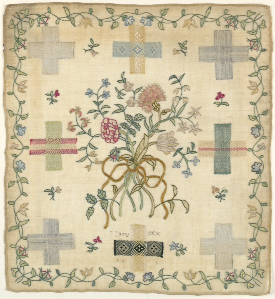 Square darning sampler on a very fine, sheer linen ground. In the center, a bouquet of flowers is tied with a ribbon. There are eight cross-shaped areas displaying darning in imitation of different woven patterns. The work is framed by a fine floral border.