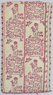 Band fragment showing Cupid, birds and flowers in red silk on linen.