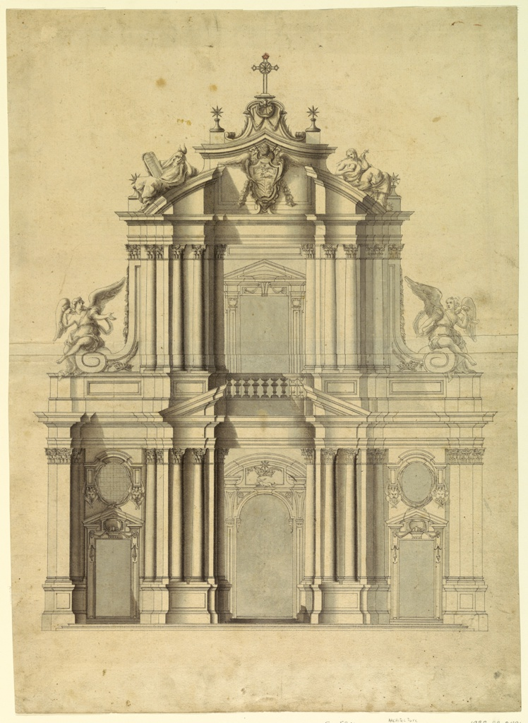 "Elevation of the facade of Santa Maria Sopra Minerva. Upon the ends of the volutes in the second floor two angels are sitting; upon the couped pediment beside the escutcheon at left, allegorical sculpture of ""Faith"" (or ""Religion"") with the tablets of the law and a burning flame upon the head, at right St. Magdalene; above the middle of the central door, upon a console, a lying dog with a burning candle in his mouth.  Commission for the Dominican Order."