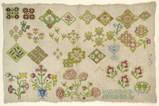"""Spot"" sampler of assorted geometric and floral motifs."