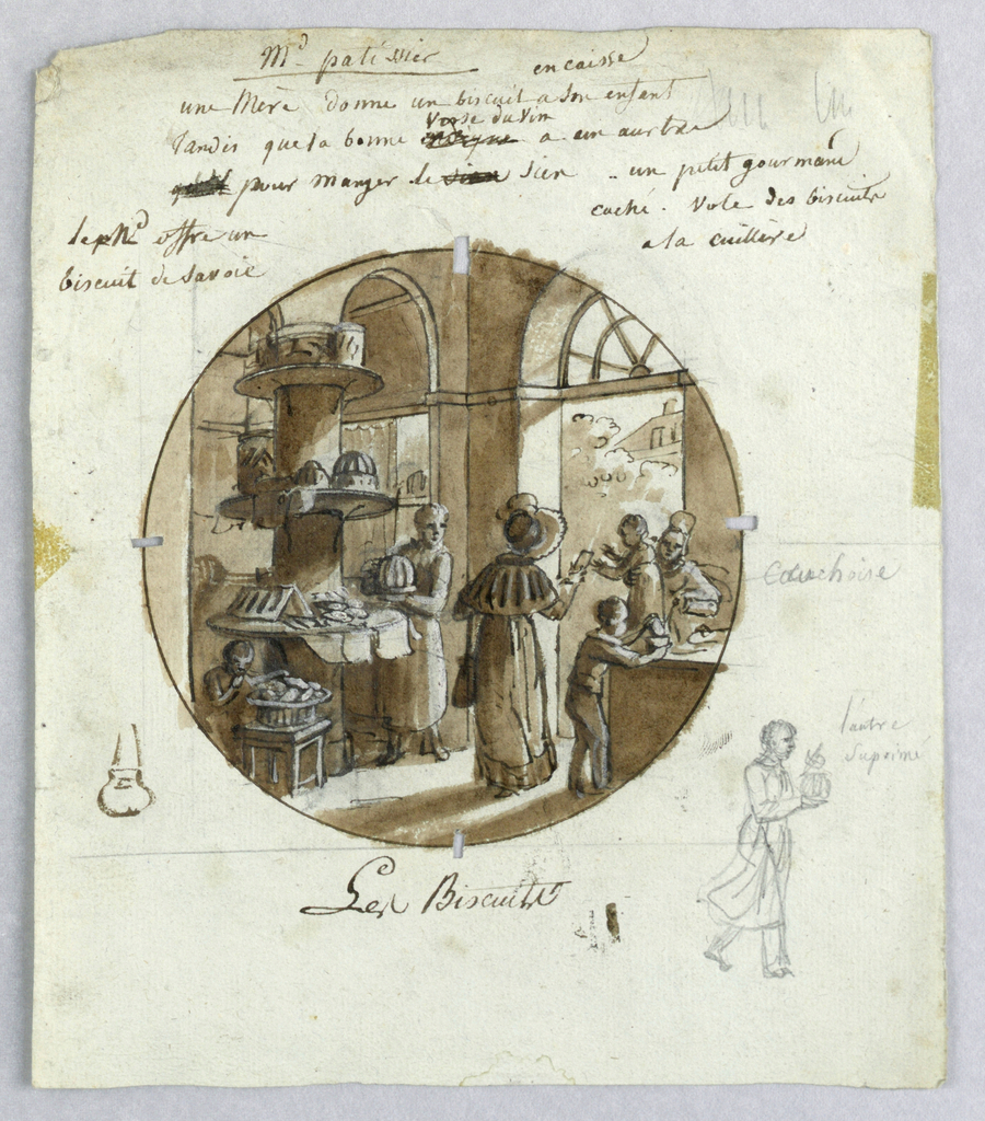 Design for a painted porcelain plate, rondel. Scene in a pastry shop.  A figure of a woman (perhaps shop owner) holding a molded cake, stands to the right of a column with shelves, left middleground, displaying cakes and cookies of many varieties.  A well-dressed female client viewed from behind, center foreground, gives a cookie to a child held by a servant while a boy, right foreground, is preparing to eat a cake resting on a counter. Another little boy, left foreground, steals a lady finger from a basket on a low table. The roof of a house and trees appear through the open door, right background.  A graphite sketch of a woman or man holding a fancy cake in lower right margin.