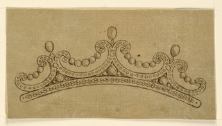 Jewelry design for a diadem (small crown or tiara). Above a band are two bigger and, outside, two smaller volutes, with the scrolls bending upwards; those are connected by chains with 5 and 3 round diamonds respectively. On the cusps, ovoid diamonds on feet. In the spherical triangles of the intervals, a big round diamond surrounded by smaller ones. Upon the band and the volutes are rows of diamonds.
