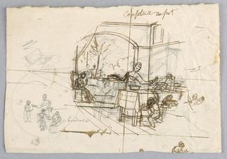 "Design for a painted porcelain plate, rondel. Sketch showing a figure of a woman, center middleground, serving [?] jam to a child.  A figure is seated, left middleground, in front of a palm [?] tree.  A secondary sketch in left foreground shows four figures, one of whom is handing some jam [?] to a young child. The inscription ""coudeuse"" refers to some other boys at right attempting to get some jam."