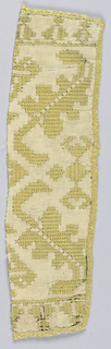 Band fragment with a design of geometric leaves in yellow silk on a linen foundation.