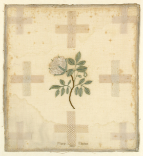 A white rose on a stem with leaves and buds in the center and surrounded by eight crosses of darning stitches. Hemmed on four sides.
