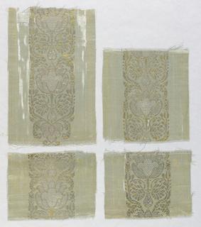 Stripe or border of metallic design on satin ground.