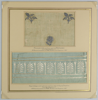 Mat with two fabric samples. The upper sample is embroidery using stamped silver metal on white cotton (floral shapes). The lower sample is an embroidery using white silk on aqua silk in an acanthus leaf design. The mat has been painted and gold leaf applied.