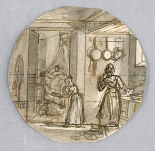 A kitchen in foreground and a bedroom visible through doorway, left rearground.  A woman holding a spoon in her right hand, right foreground, stands at a counter.  Two pots and a watering can hang on a wall behind her.  Another woman, center middleground, stands in the doorway at the entrance to a bedroom, through which one sees a figure laying in a canopied bed.