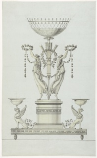 Design for a centerpiece, positioned at the center of the sheet. The base is in the form of a truncated column upon which stand two female figures dressed in classical attire (maenads) holding aloft floral wreaths and garlands. They are shown in profile.  The bowl rests on a quiver with arrows, which is positioned between the female figures.  On either side of the base is a griffin carrying a bowl on its head.