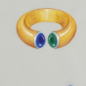 Drawing of gold, emerald, and sapphire bangle with four images below of stones in plan and perspective.  Bangle was first produced in 1994 on commission with modifications.  The bangle was then produced out of two materials, half in white gold and half in yellow gold.