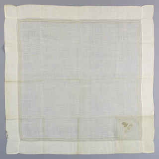 "White linen handkerchief with an embroidered border, an embroidered ""Pelican-in-her-Piety"" and the initials W.C.P."
