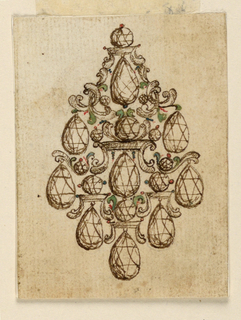 Jewelry design for a brooch. Nine hanging drop-like jewels on the exterior of the brooch and at center; five rounded medium-sized gems and six small round gems are connected and partially supported by five pedestals of various sizes, and by volutes. The general outline is that of a lozenge.