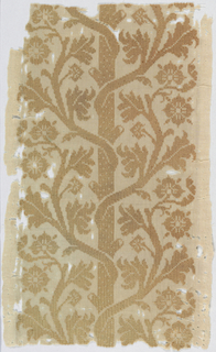 Band of white linen embroidered in light brown with a pattern of a branching trunk.