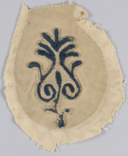 Fragments of embroidered sleeve in coarse linen worked in dark blue wool. Design shows bird with leaf spray in its beak and stylized floral forms. Pieces applied on coarse cotton.
